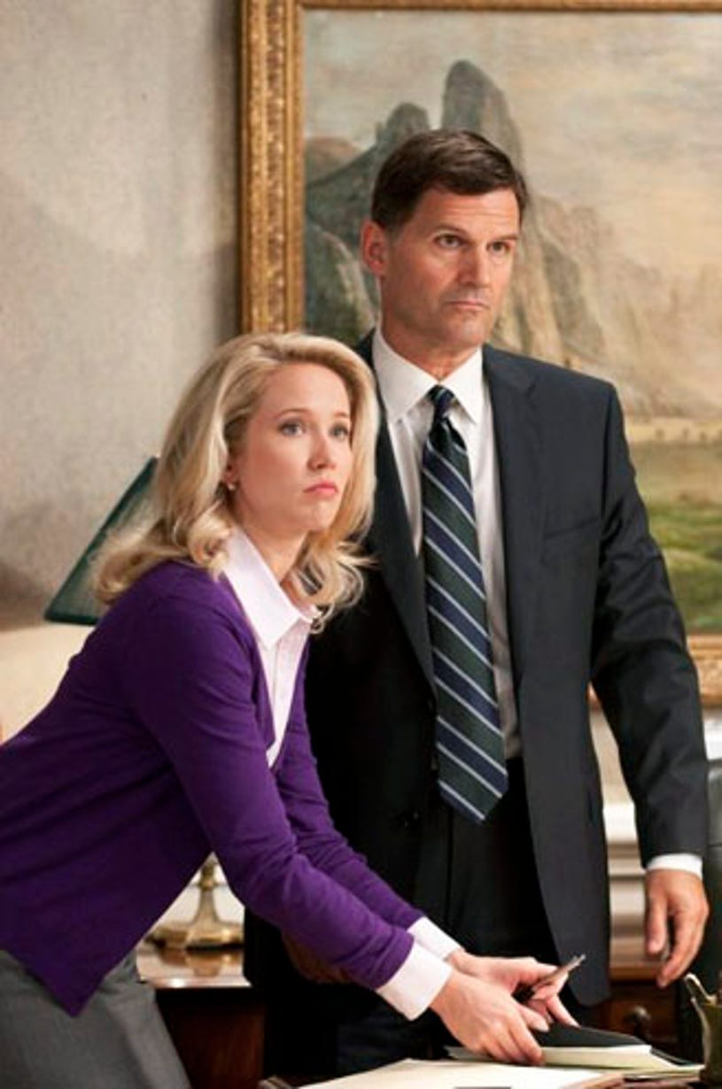 """Covert Affairs - Season 1- """"House of Holy"""" - Anna Camp as Ashley Briggs and D.W. Moffett as Sen. Jarvis"""