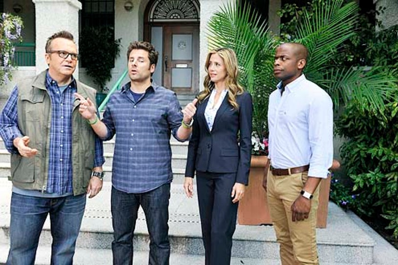 "Psych - Season 8 - ""A Touch of Sweevil"" - Tom Arnold, James Roday, Mira Sorvino and Dule Hill"