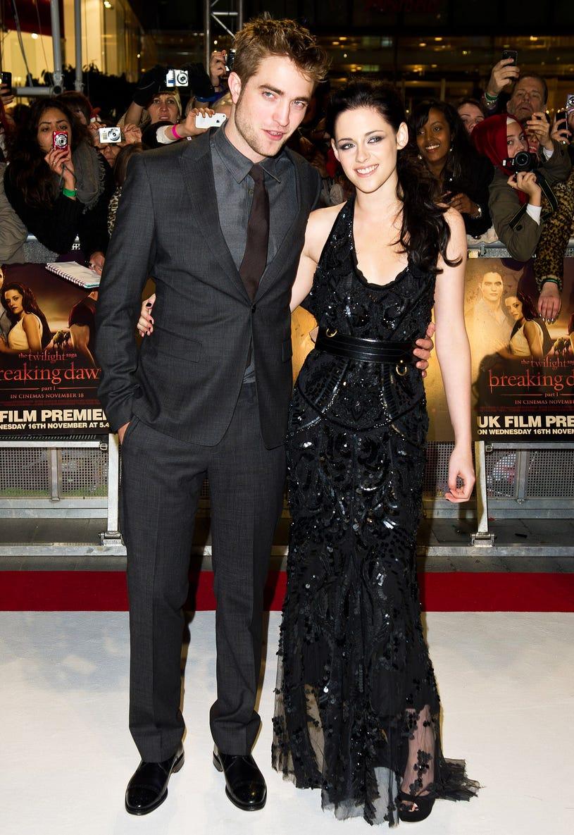 Robert Pattinson, Kristen Stewart attend the UK premiere of The Twilight Saga: Breaking Dawn Part 1 at Westfield Stratford City on November 16, 2011 in London, England.
