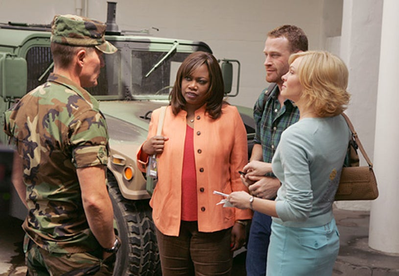 """The Unit - Regina Taylor as """"Molly Blane"""", Robert Patrick as """"Colonel Tom Ryan"""", Max Martini as """"Mack Gerhardt"""", and Abby Brammell as """"Tiffy Gerhardt"""""""