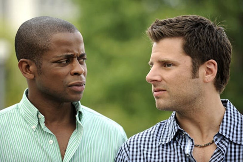"Psych - Season 3 - ""The Devil is in the Details & the Upstairs Bedroom"" - Dule Hill as Gus Guster and James Roday as Shawn Spencer"