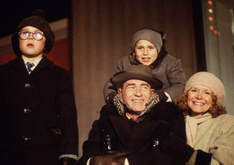 "A Christmas Story - Peter Billingsley as ""Ralphie"", Ian Petrella as ""Randy"", Darren McGavin as the father and Melinda Dillon as the mother"