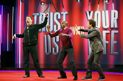 "Trust Us With Your Life - Season 1 - ""Jerry Springer"" - Brad Sherwood, Wayne Brady and Jonathan Mangum"