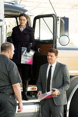 """Bones - Season 7 - """"The Bump in the Road"""" - Emily Deschanel as Brennan and David Boreanaz as Booth"""