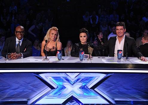 "The X Factor - Season 2 - ""Top 8"" - L.A. Reid, Britney Spears, Demi Lovato and Simon Cowell"