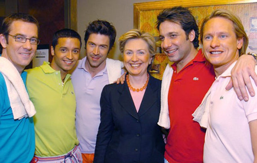 Jai Rodriguez, Tom Felicia, Ted Allen, Hillary Rodham Clinton, Kyan Douglas, and Carson Kressley - Colon Cancer Benefit, April 2004