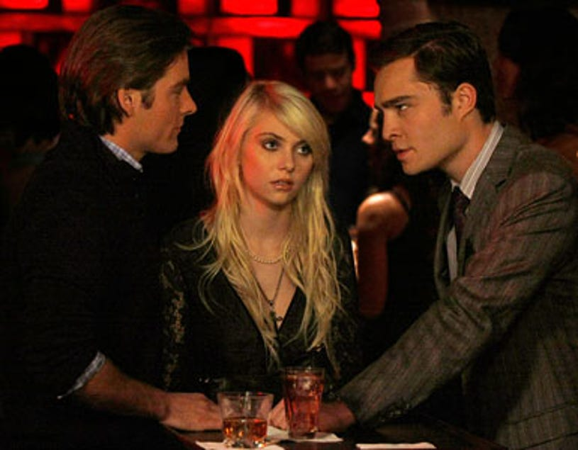 """Gossip Girl - Season 3 - """"The Last Days of Disco Stick"""" - Kevin Zegers as Damien, Taylor Momsen as Jenny and Ed Westwick as Chuck"""
