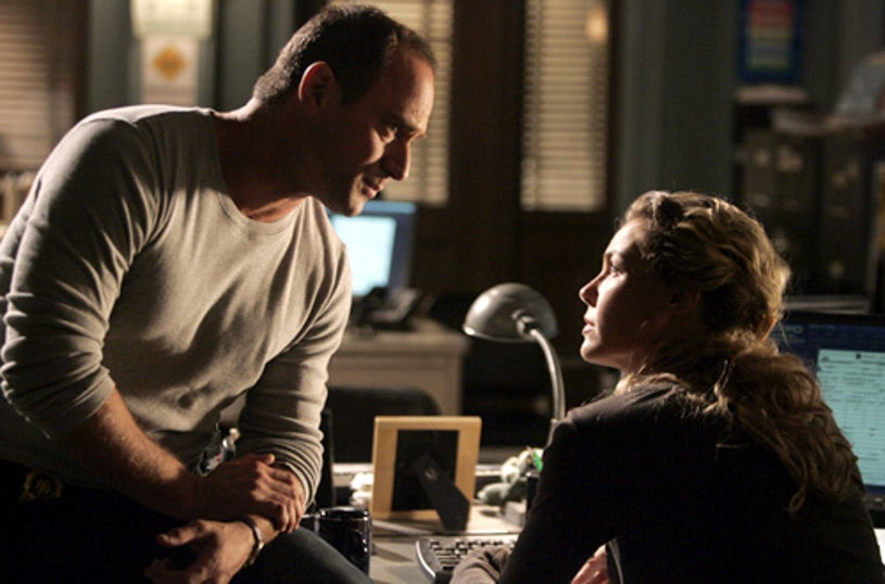 """Law & Order: SVU - Season 8 - """"Underbelly""""- Christopher Meloni as Det. Elliot Stabler and Connie Nielsen as Detective Dani Beck"""