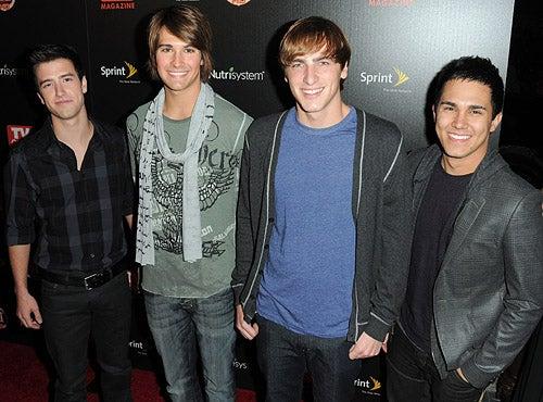 Logan Henderson, James Maslow, Kendall Schmidt and Carlos Pena - arrive at party at SLS Hotel, Beverly Hills, November 10, 2009