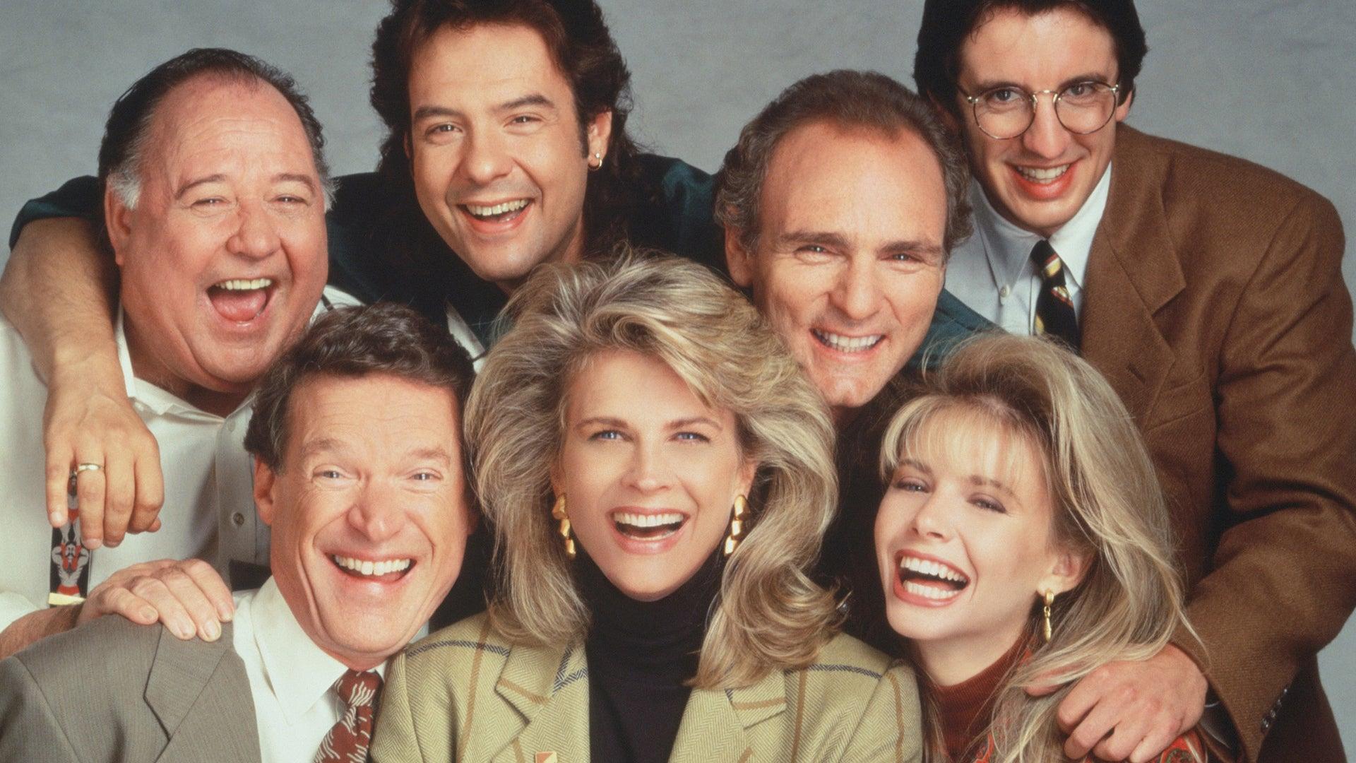 Charles Kimbrough, Candice Bergen, Faith Ford, Pat Corley, Robert Pastorelli, Joe Regalbuto, and Grant Shaud; Murphy Brown