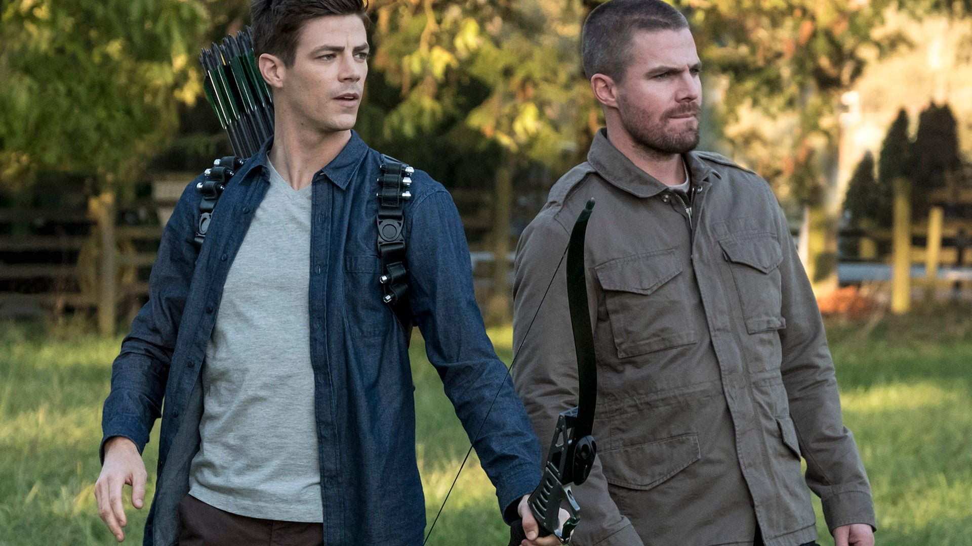 Grant Gustin and Stephen Amell, Arrow