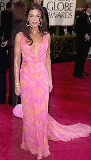 Annabella Sciorra arrives at The 58th Annual Golden Globe Awards.