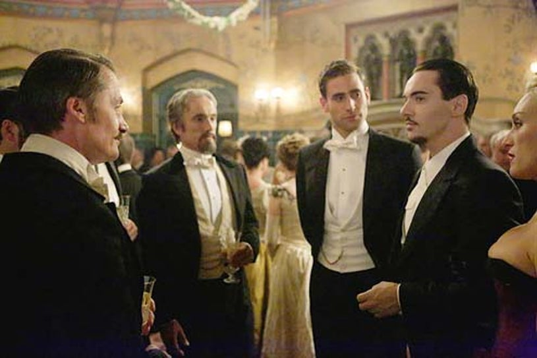 "Dracula - Season 1 - ""The Devil's Waltz"" - Hal Fowler, Ben Miles, Oliver Jackson-Cohen, Jonathan Rhys Meyers and Victoria Smurfit"