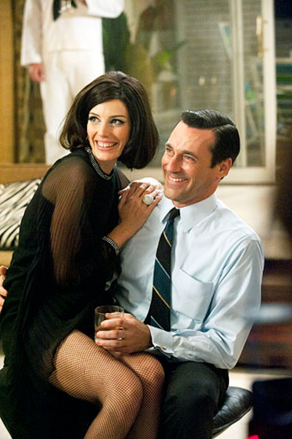 "Mad Men - Season 5 - ""A Little Kiss"" - Jessica Pare and Jon Hamm"