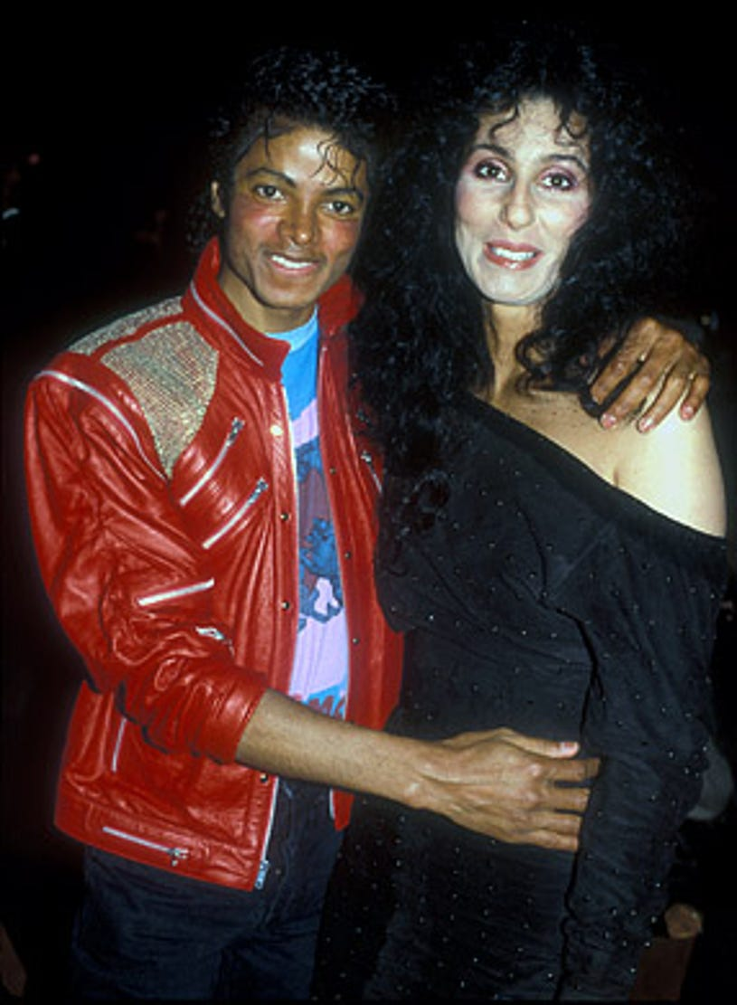 """Michael Jackson and Cher - at the """"Dreamgirls"""" opening night party, Los Angeles, March 20, 1983"""