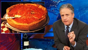 VIDEO: Jon Stewart Rants Against Deep-Dish, Receives Dead-Fish Pizza from Rahm Emanuel