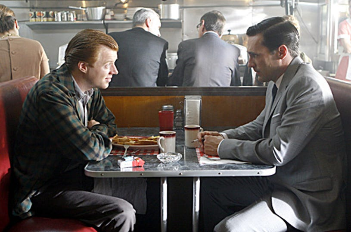 "Mad Men - ""5G"" - Jay Paulson as Adam Whitman, Jon Hamm as Don Draper"
