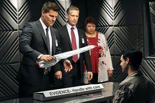 "Bones - Season 8 -""The Future in the Past"" - David Boreanaz, Reed Diamond, Patricia Belcher and Andrew Leeds"