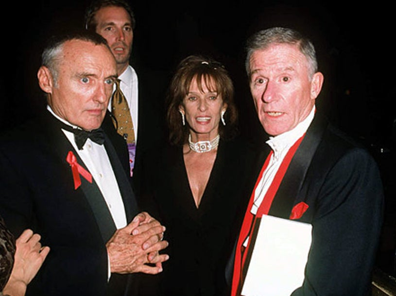 "Dennis Hopper and Roddy McDowall - ""Happy Birthday, Elizabeth Taylor: A Celebration of Life"" in Los Angeles, February 16, 1997"
