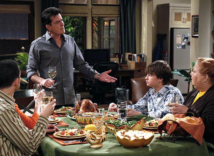 """Two and a Half Men - Season 8 - """"Ow, Ow, Don't Stop"""" - Charlie Sheen as Charlie, Angus T. Jones as Jake and Conchata Ferrell as Berta"""