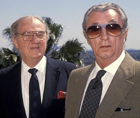 Karl Malden and Robert Mitchum - BAFTA Awards luncheon, West Hollywood, March 17, 1991