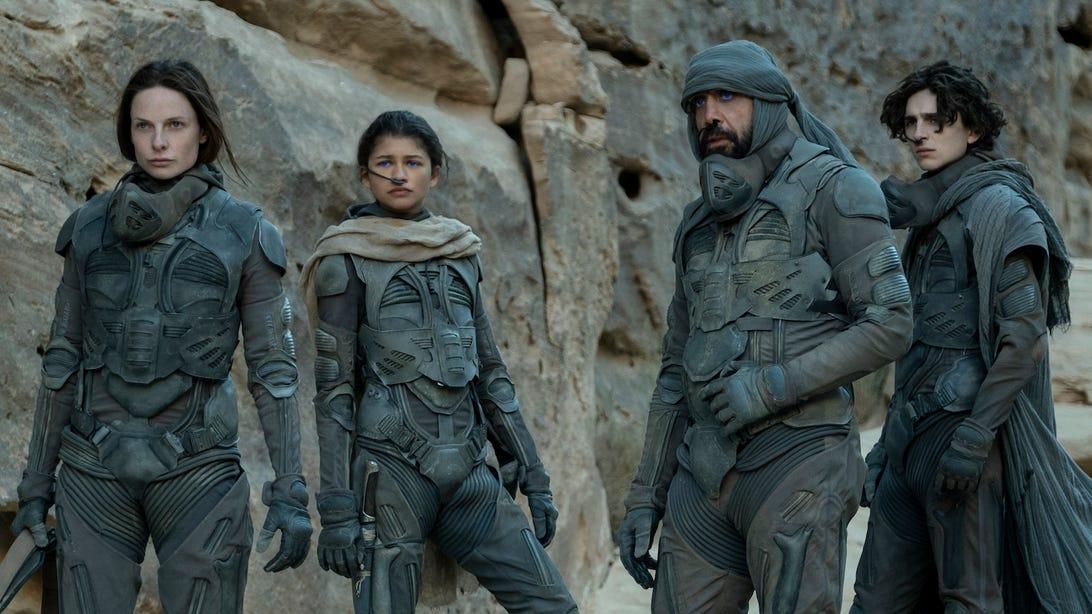Rebecca Ferguson, Zendaya, Javier Bardem, and Timothée Chalamet, Dune