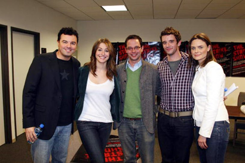 Seth Macfarlane, Kat Foster, Nick Kroll, Michael Urie and Emily Deschanel - The Strike Show to benefit the Motion Picture and Television Fund, Hollywood, California, December 12, 2007