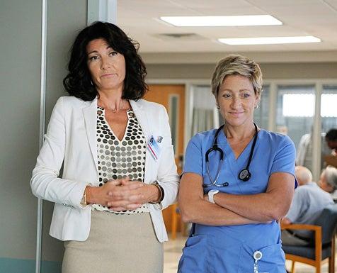 Nurse Jackie - Season 2 - Eve Best as Dr. O'Hara and Edie Falco as Jackie Peyton