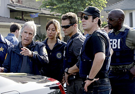 "Numb3rs - Season 5, ""Jack of All Trades"" - Guest star Henry Winkler as Agent Bloom, Aya Sumika as Liz Warner, Dylan Bruno as Colby, Rob Morrow as Don, Alimi Ballard as David"