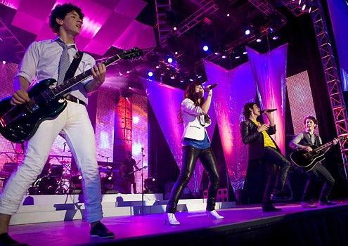 Disney Channel Games - Nick Jonas, Demi Lovato, Joe Jonas and Kevin Jonas perform at the Disney Channel Games Concert in Lake Buena Vista, Florida