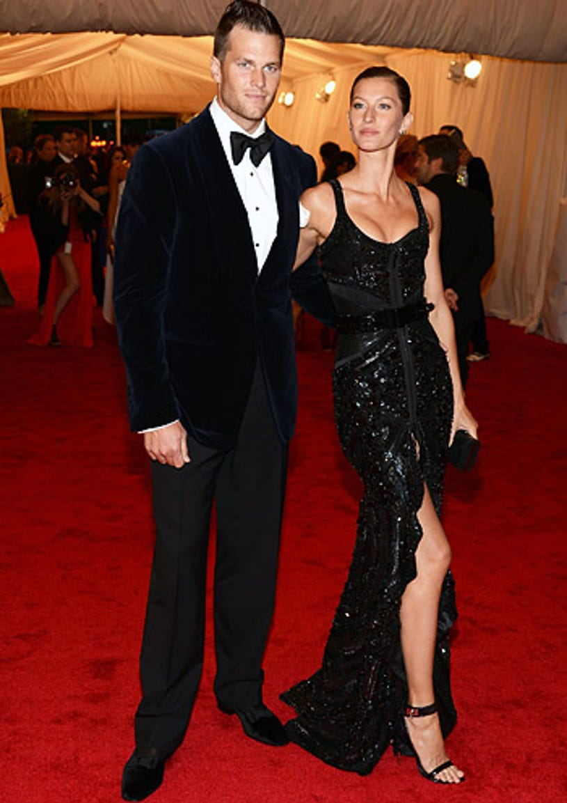 """Tom Brady and Gisele Bundchen - The """"Schiaparelli And Prada: Impossible Conversations"""" Costume Institute Gala at the Metropolitan Museum of Art in New York City, May 7, 2012"""
