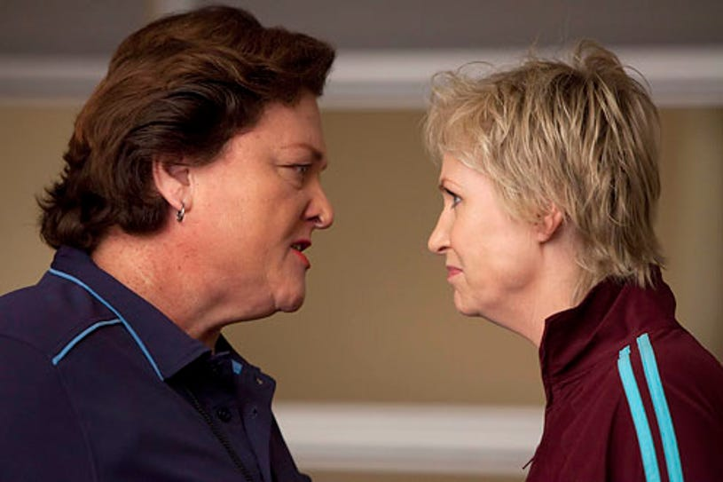 """Glee - Season 2 - """"Audition"""" - Guest star Dot Jones as coach Beiste and Jane Lynch as Sue"""