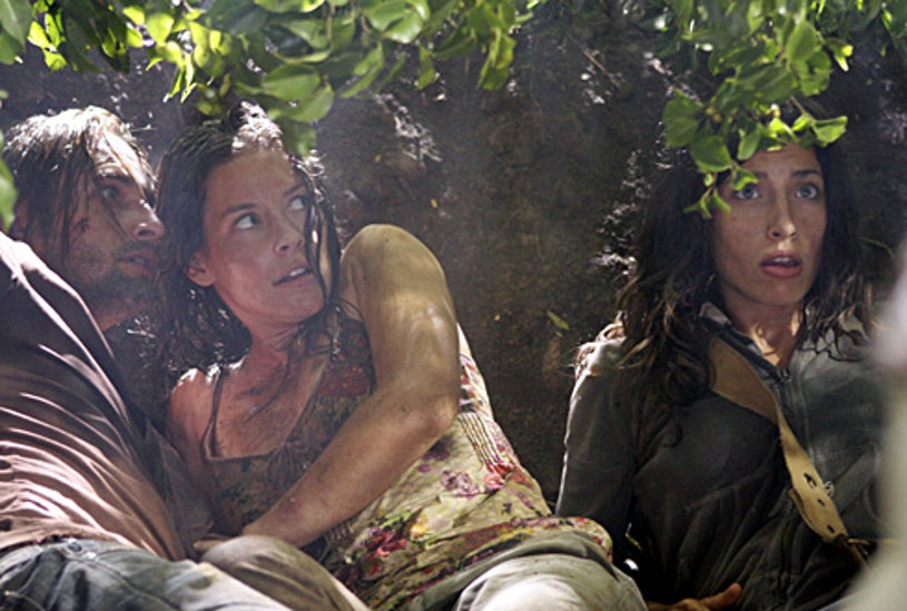 """Lost -""""Not in Portland""""- Josh Holloway as Sawyer, Evangeline Lilly as Kate, Tania Raymonde as Alex"""