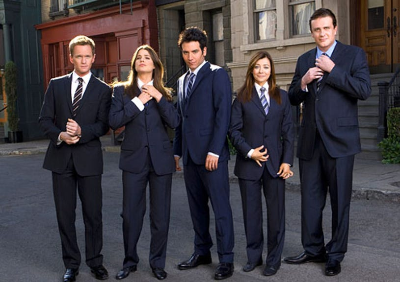 """How I Met Your Mother - Season 5 - """"Girls vs. Suits"""" - Neil Patrick Harris as Barney, Cobie Smulders as Robin, Josh Radnor as Ted, Alyson Hannigan as Lily and Jason Segel as Marshall"""