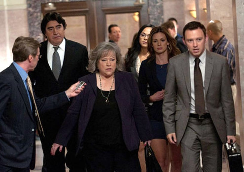 """Harry's Law - Season 2 - """"Sins of the Father"""" - Alfred Molina as Eric Sanders, Kathy Bates as Harriet """"Harry"""" Korn, Daisy Betts as Bethany Sanders and Nate Corddry as Adam Branch"""