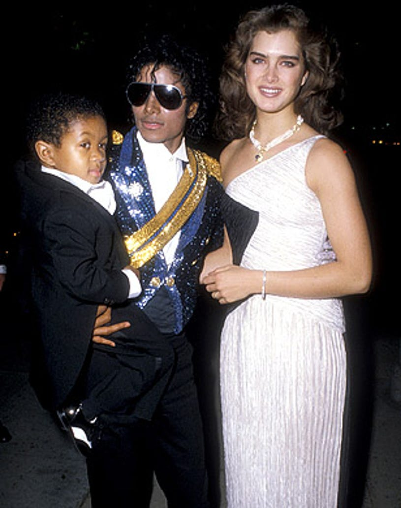 Emmanuel Lewis, Michael Jackson and Brooke Shields - attend the 26th Annual Grammy Awards, February 8, 1984