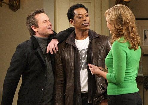 "Rules of Engagement - Season 3 - ""Lying King"" - Sam Harris as Jackie, Orlando Jones as Brad and Megyn Price as Audrey"