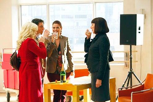 """Smash - Season 2 - """"Musical Chairs"""" - Megan Hilty, Christian Borle, Debra Messing and Anjelica Huston"""