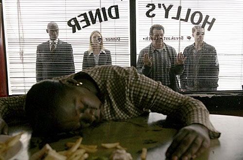 "Fringe - Season 1 - ""The Cure"" - Lance Reddick as Phillip Broyles, Anna Torv as Olivia, John Noble as Walter, Joshua Jackson as Peter"