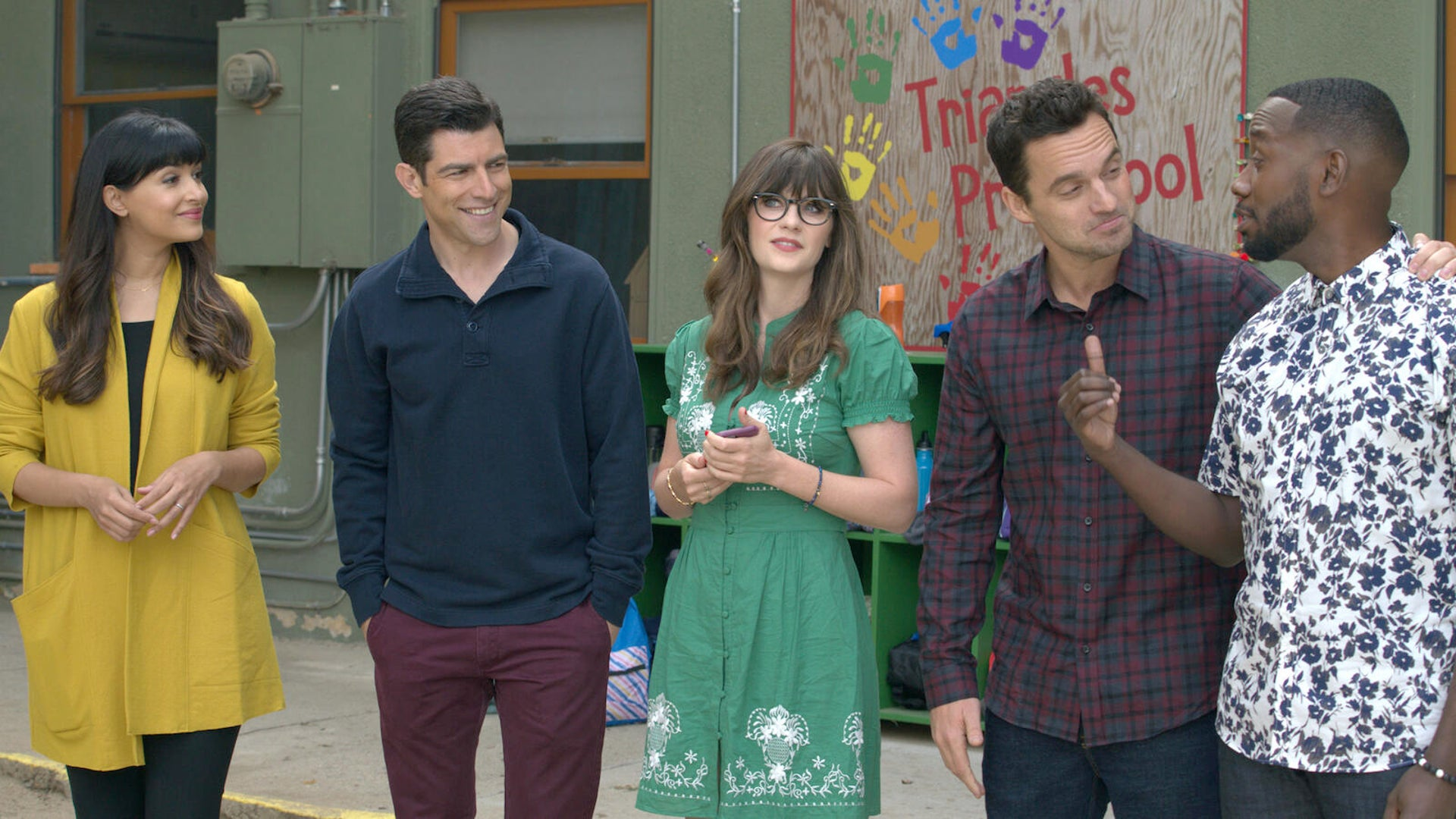Hannah Simone, Max Greenfield, Zooey Deschanel, Jake Johnson, and Lamorne Morris, New Girl