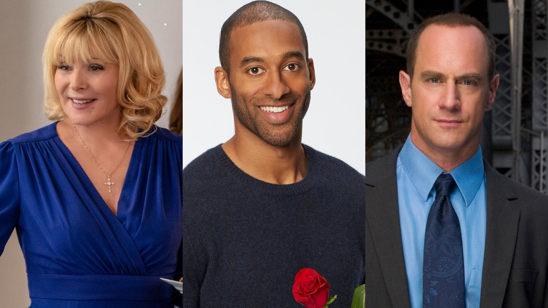 Kim Cattrall, Filthy Rich; Matt James, The Bachelor; Christopher Meloni, Law & Order: SVU