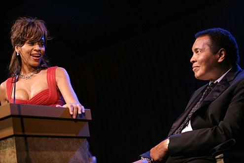 Whitney Houston and Muhammad Ali onstage at Muhammad Ali's Celebrity Fight Night XIV at the JW Marriott Desert Ridge Resort & Spa on April 5, 2008 in Scottsdale, Arizona.