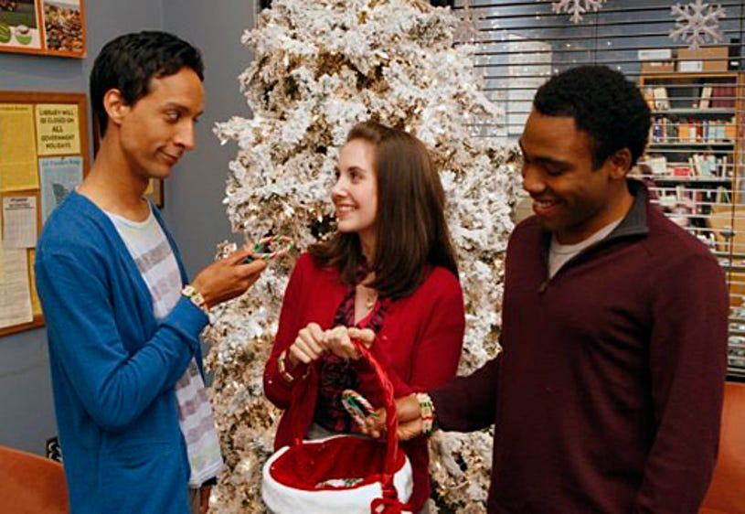 """Community - Season 1 - """"Comparative Religion"""" Episode 111 - Danny Pudi as Abed, Alison Brie as Annie, Donald Glover as Troy"""