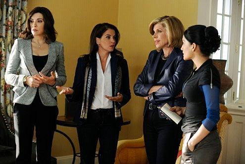 "The Good Wife - Season 4 - ""Waiting for the Knock"" - Julianna Margulies, Annabella Sciorra, Christine Baranski, Archie Panjabi"