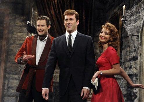 "Saturday Night Live - Season 36 - ""Jon Hamm"" - Bill Hader, Jon Hamm and Nasim Pedrad"