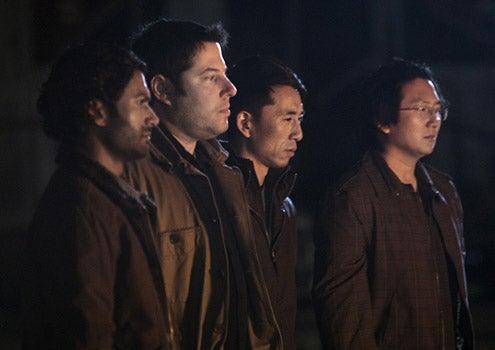 "Heroes - Season 3 - ""An Invisible Thread"" - Sendhil Ramamurthy as Mohinder Suresh, Greg Grunberg as Matt Parkman, James Kyson Lee as Ando Masahashi and Masi Oka as Hiro Nakamura"