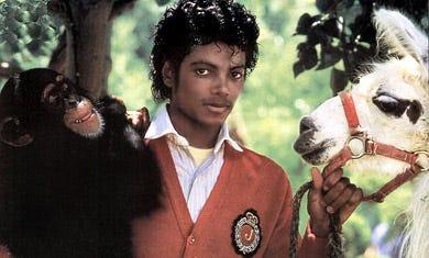 Michael Jackson - with pet chimpanzee, Bubbles and pet llama, circa 1982