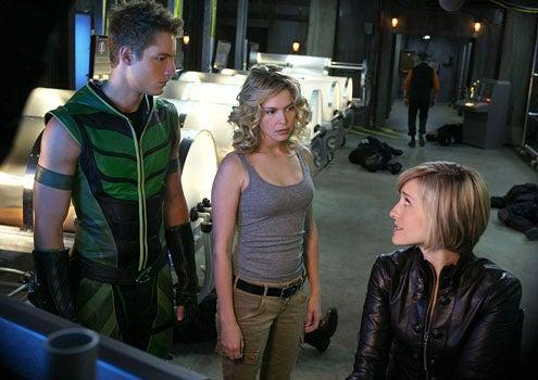 "Smallville - Season 10 - ""Collateral"" - Justin Hartley as Oliver Queen, Alaina Huffman as Dinah Lance and Alison Mack as Chloe Sullivan"
