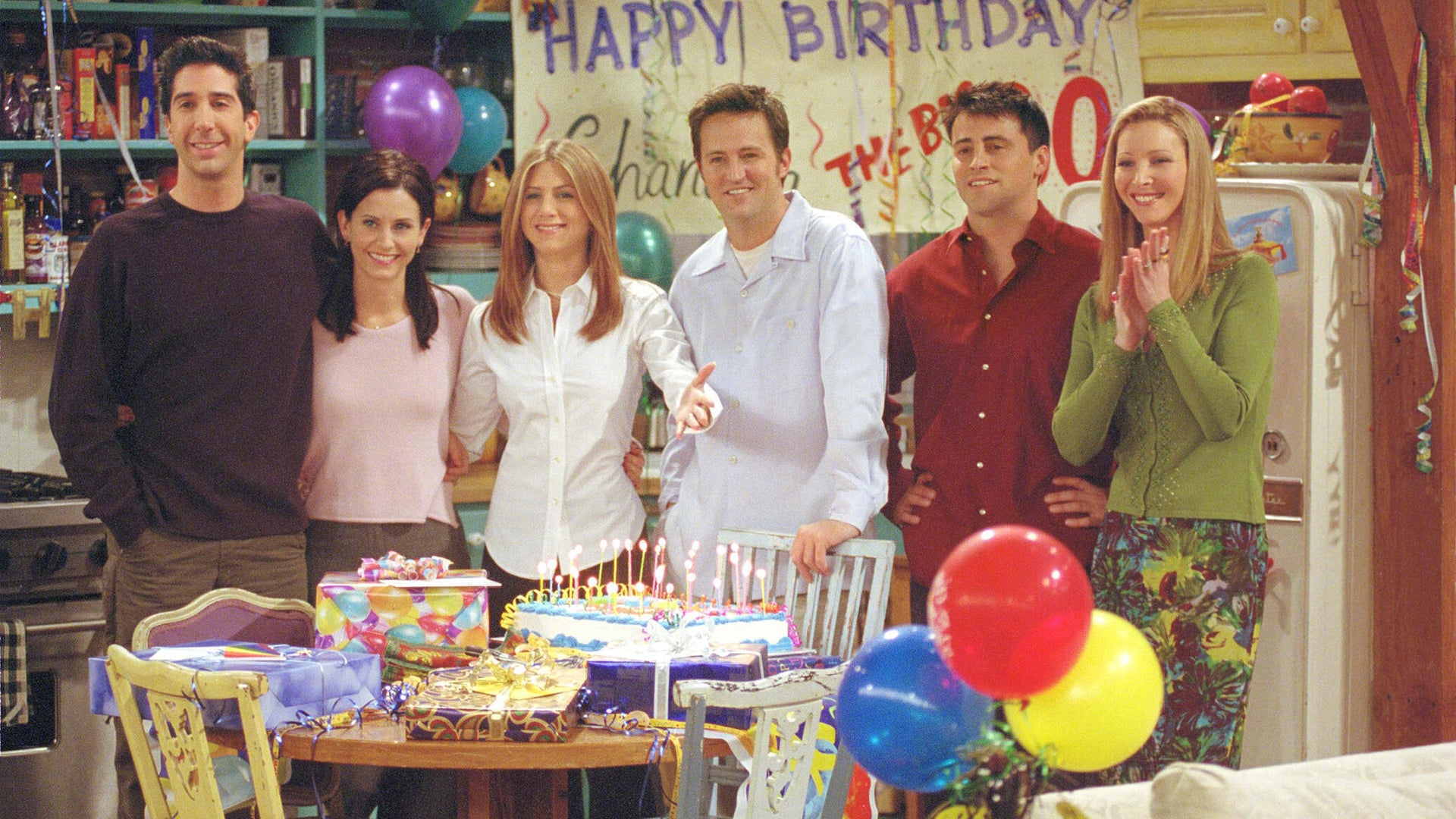 David Schwimmer, Courteney Cox, Jennifer Aniston, Matthew Perry, Matt LeBlanc, and Lisa Kudrow, Friends