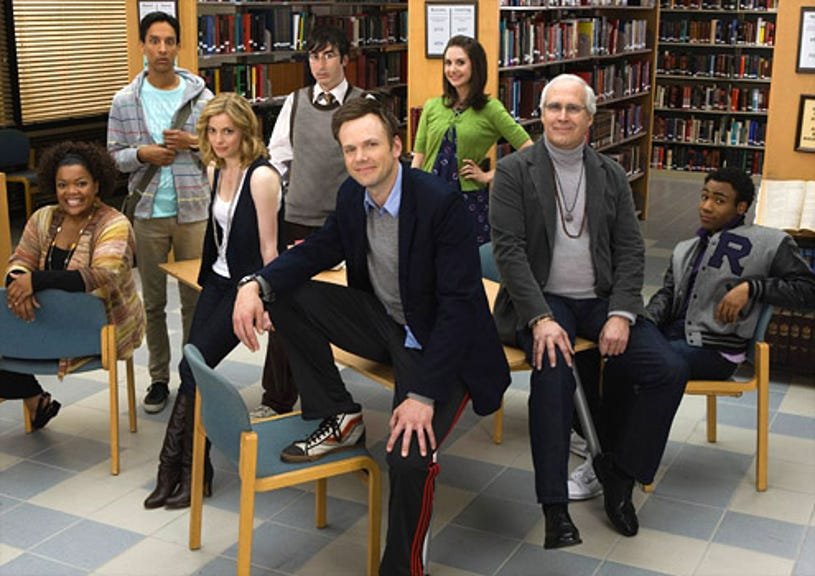 """Community - """"Pilot"""" - Yvette Nicole Brown as Shirley, Danny Pudi as Abed, Gillian Jacobs as Britta, Joel McHale as Jeff, Alison Brie as Annie, Chevy Chase as Pierce, Donald Glover as Troy"""
